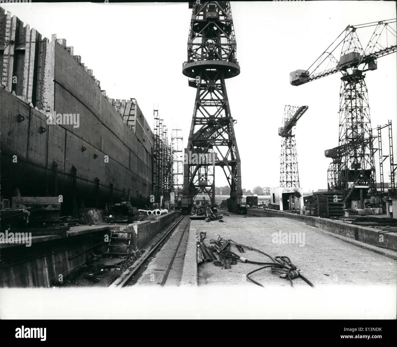 22. März 2012 - die Szene in einem ruhigen Moment in den Upper Clyde Hof mit einem unvollständige Schiff auf der linken Seite. Stockbild