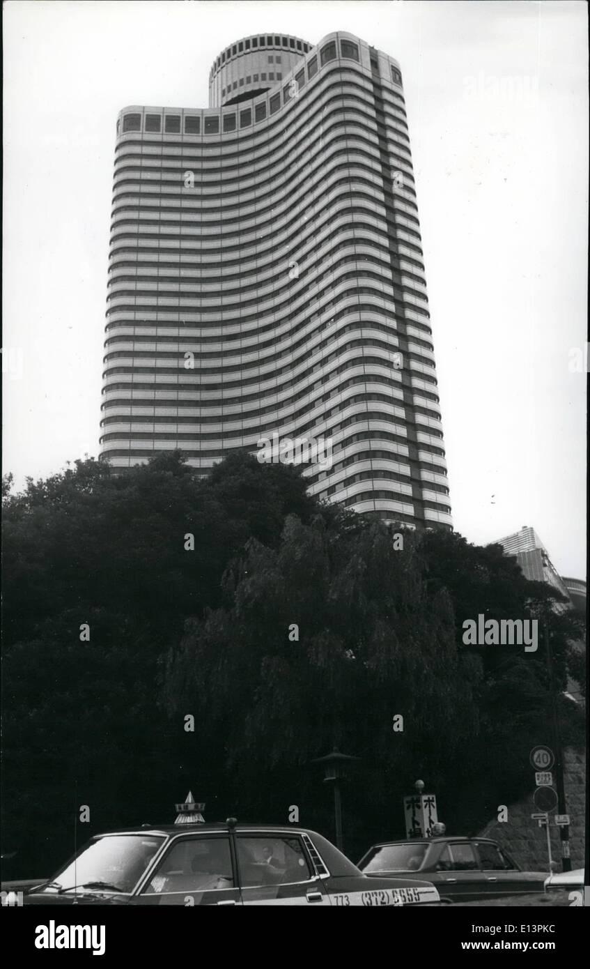 22. März 2012 - gebogene Tokio Hotel Exterior. Verhindert, dass TV '' Ghosting'': die kürzlich Completedannex Hotel New Otani in Tokio wird als wirksam bei der Verhinderung einer '''' Phänomen Doppel Geisterbild in TV-Bildschirme bezeichnet und durch seine (berechtigten) Oberflächen reduziert darüber hinaus turbulenten Stürme Hazardouz auf (berechtigte) in der Nähe des Gebäudes Stockbild