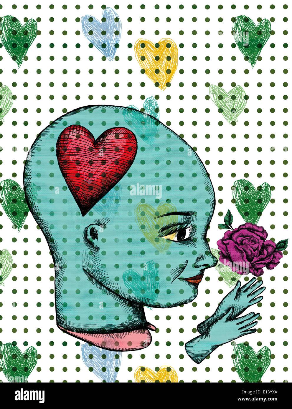 Darstellung der Frau mit Rosen und Herzen aus Liebe Stockfoto
