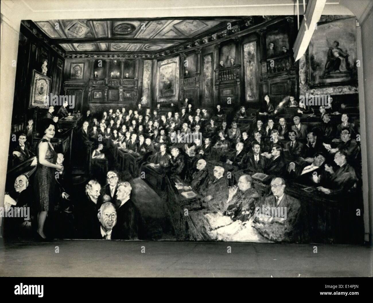12. April 2012 - dieses riesige Bild mit dem Titel ist '' der städtische Rat von Paris'' die Hauptattraktion der Ausstellung Marcel Bernhein, die heute eröffnet. Stockbild
