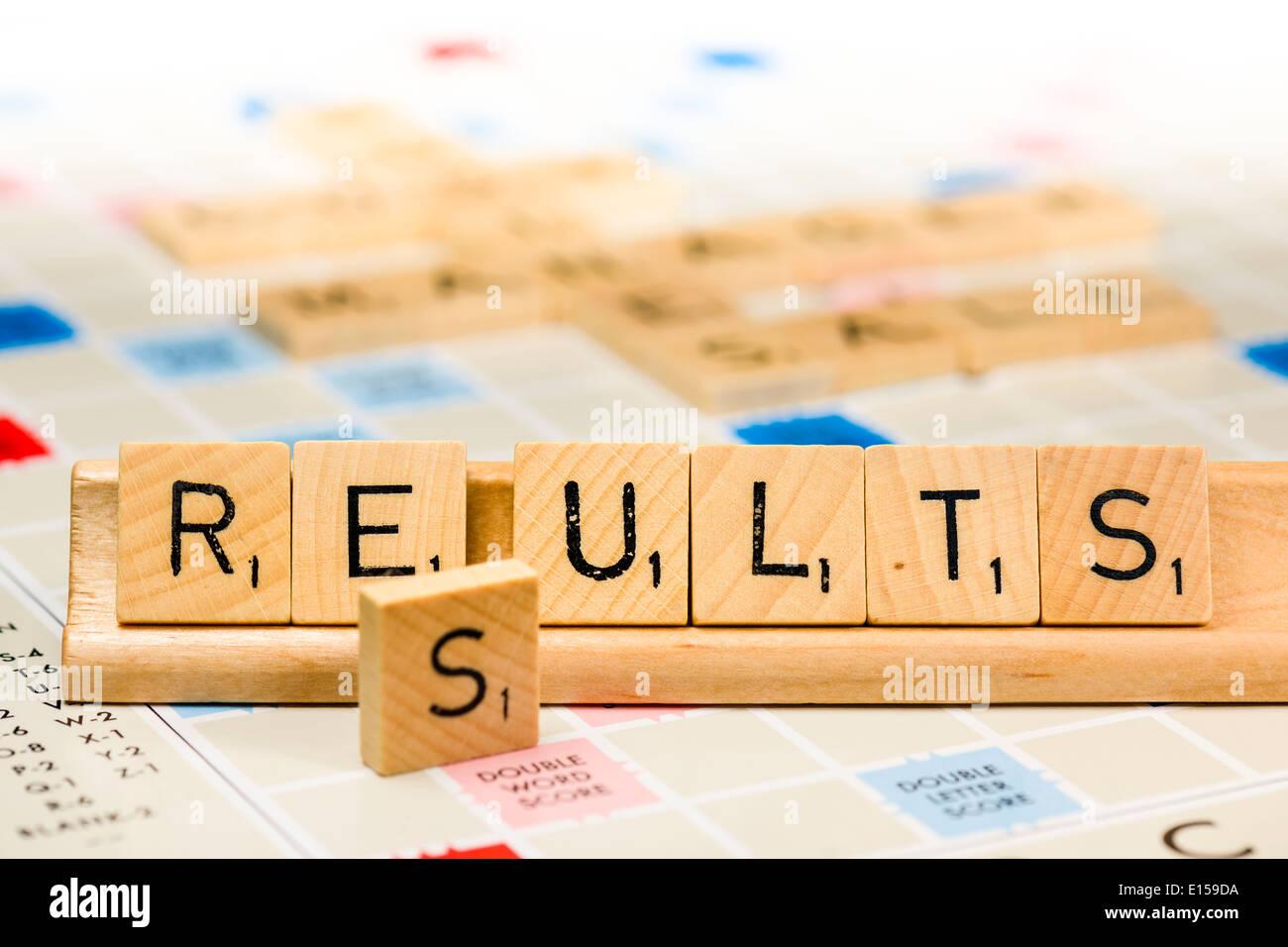 Scrabble - Ergebnisse Stockbild