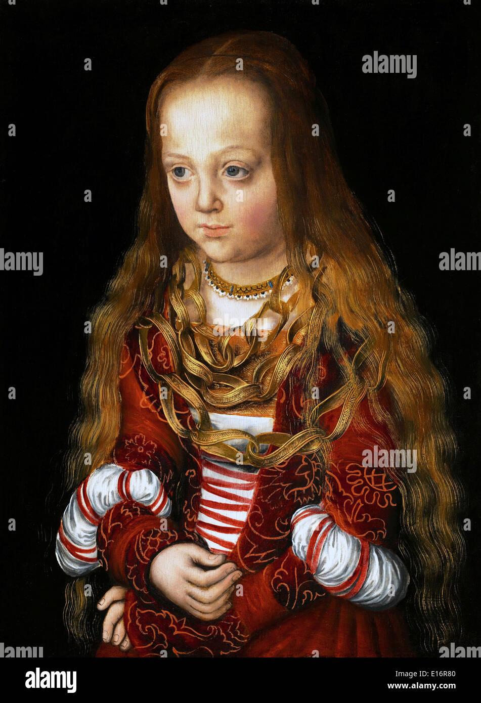 Eine Prinzessin von Sachsen-ByLucas Cranach der ältere, 1517 Stockbild