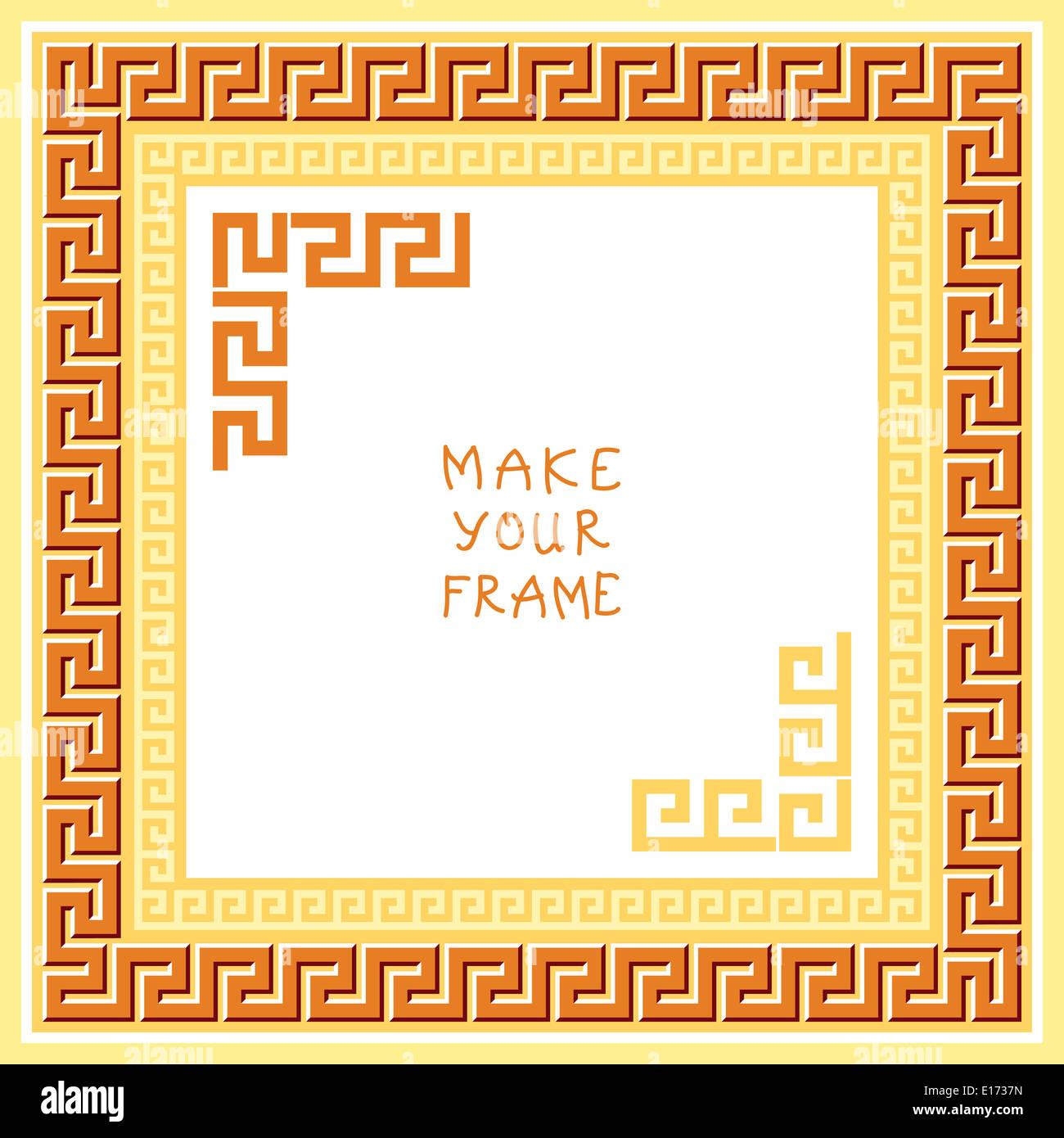 Rahmen mit traditionellen Vintage goldenen Quadrat griechischen ...