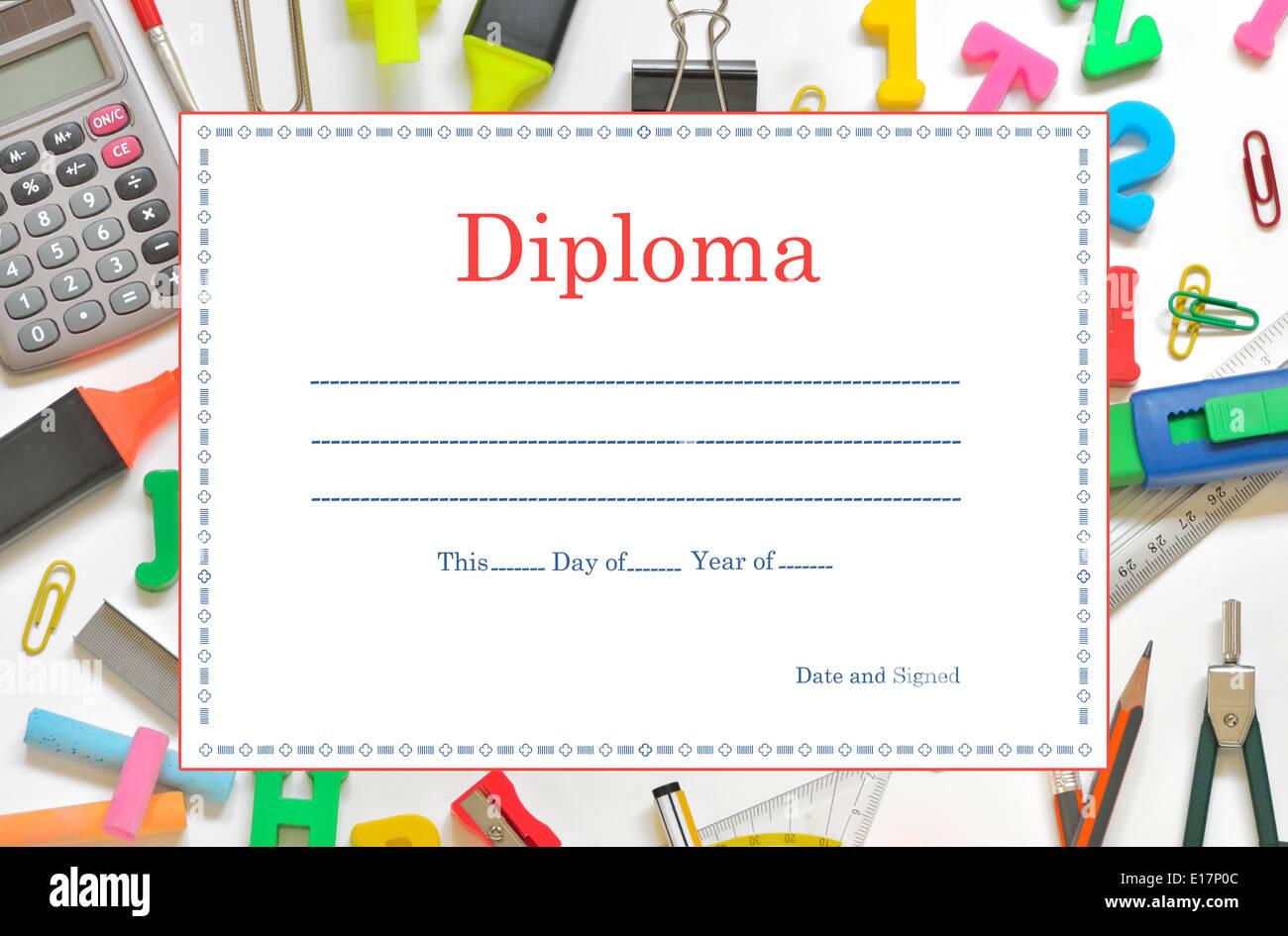 Vorlage-School-Diplom für Kinder Stockfoto, Bild: 69627052 - Alamy