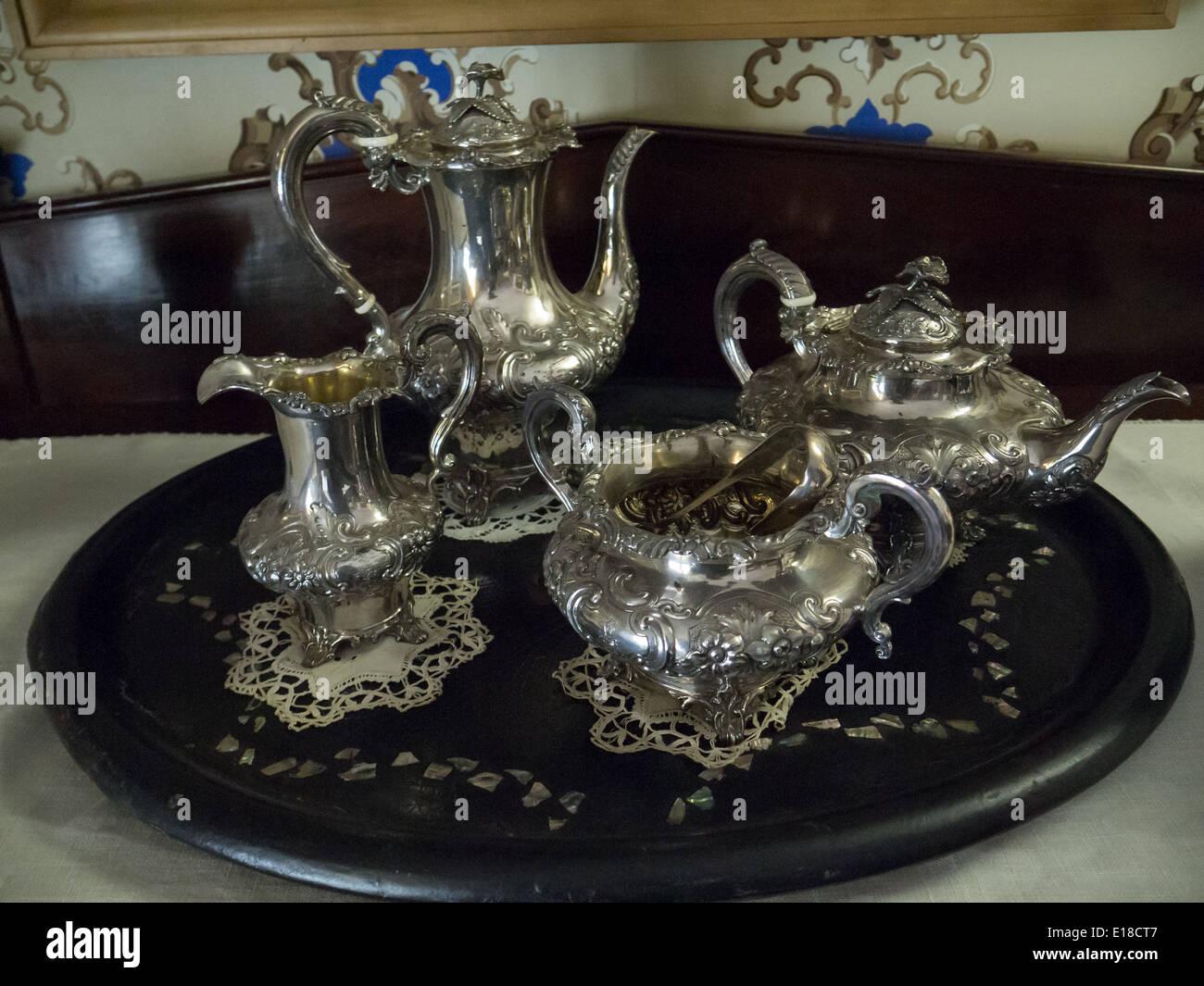 Vintage Besteck Tee Teekanne Stockbild
