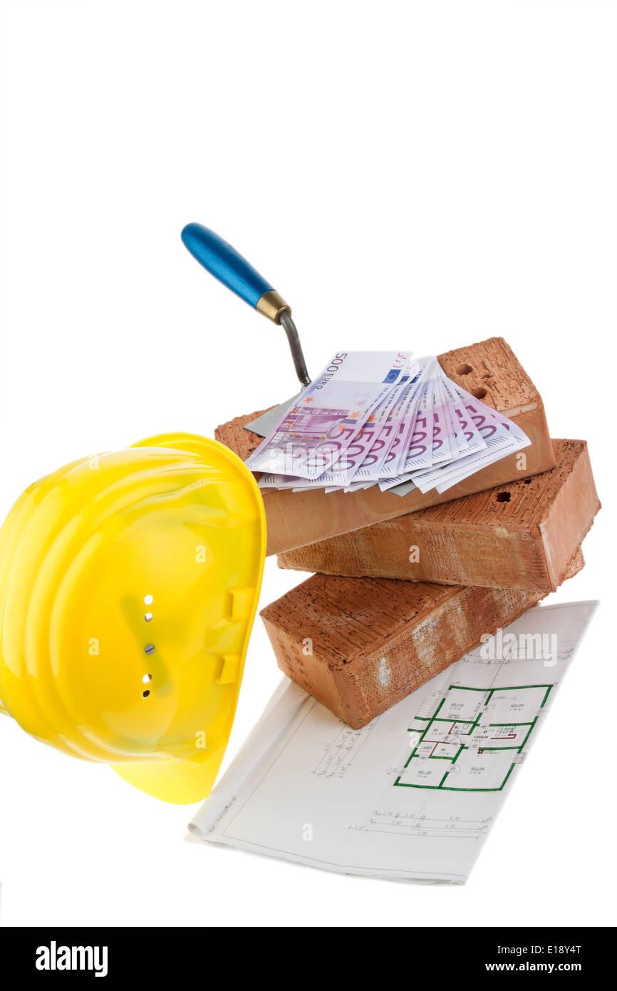 Symbolfoto Hausbau Finanzierung Bausparen Ziegel Und Euro
