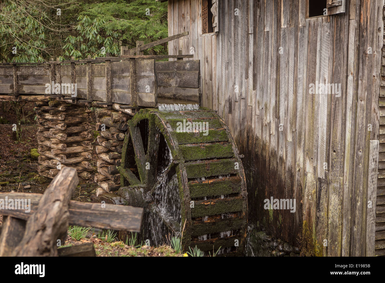 John Kabel Grist Mill ist in Cades Cove Gebiet des Great Smoky Mountains National Park in Tennessee abgebildet. Stockfoto