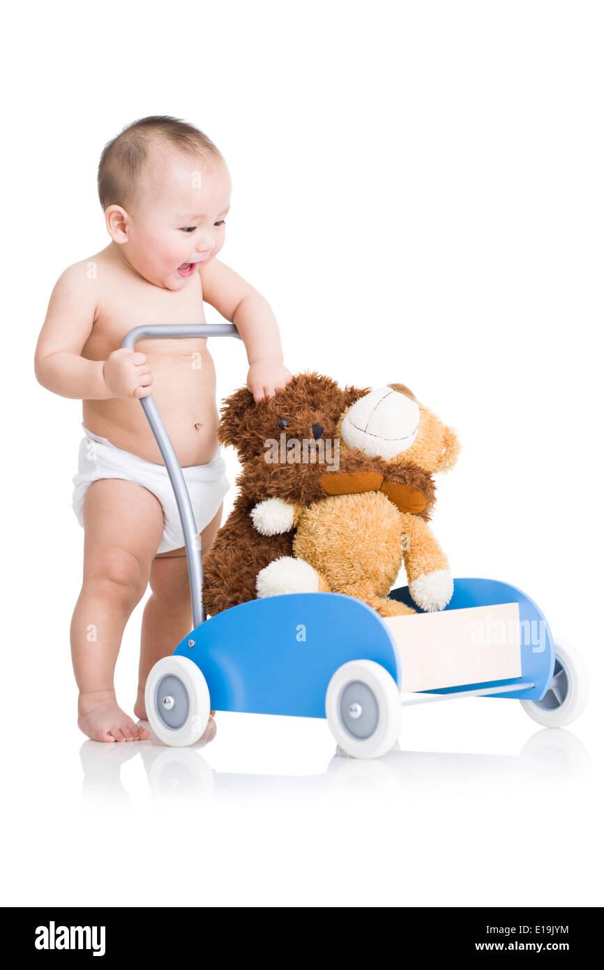 Niedliche Baby Boy mit Teddybären Stockfoto
