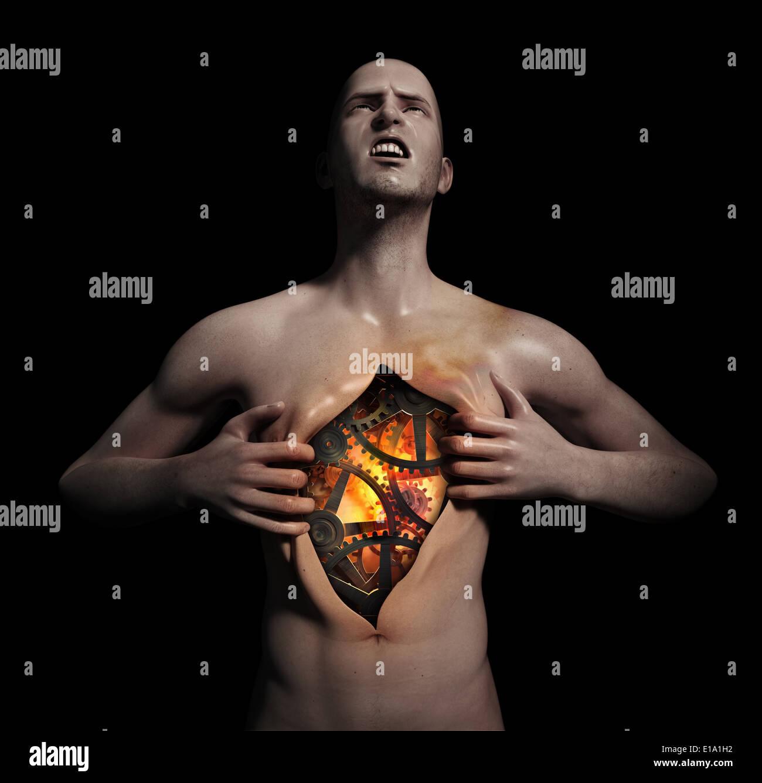 Mann seine Brust aufreißen, einen leistungsfähigen Mechanismus zu offenbaren Stockfoto