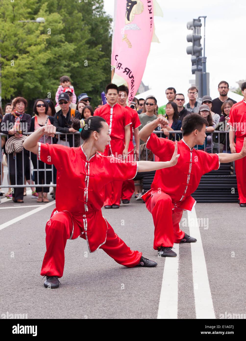 Kung Fu Vorführung Team Auftritt beim Festival - USA Stockbild