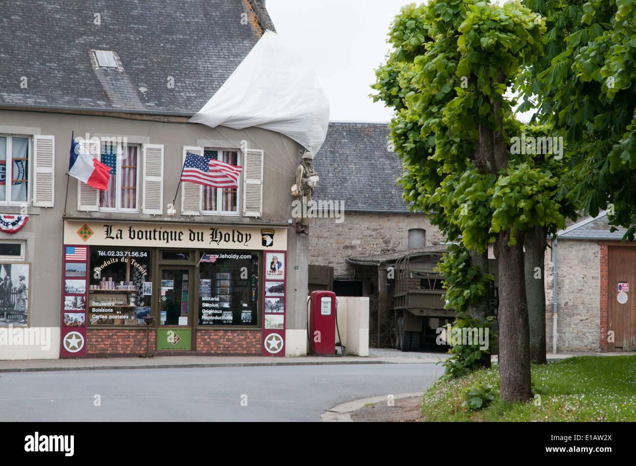 Sainte Marie du Mont, Website der amerikanischen Fallschirmjäger Landungen und erstes Dorf in der Normandie Invasion befreit werden Stockbild