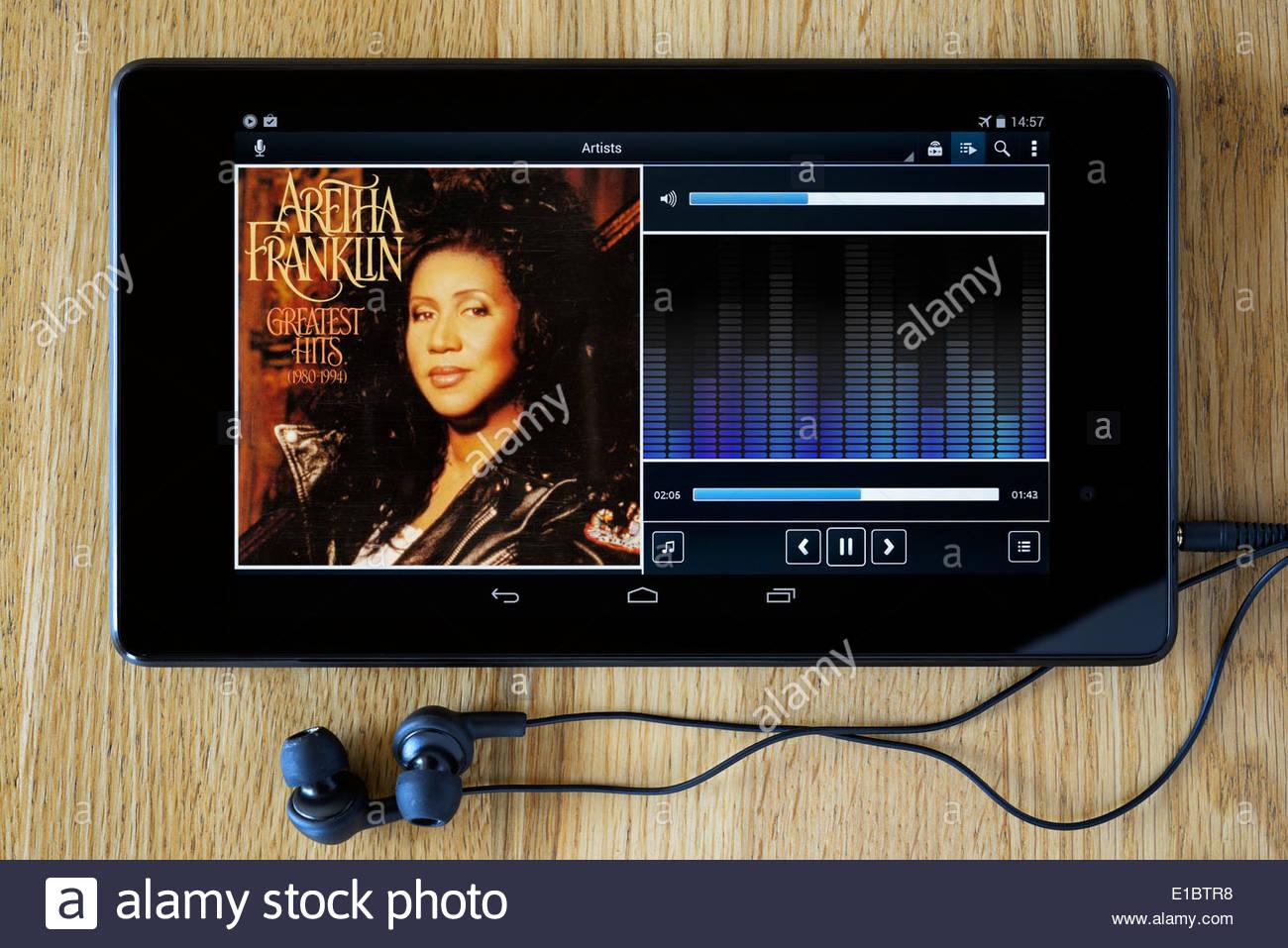 Aretha Franklin greatest Hits-Album, MP3 Album-Cover auf PC Tablet, England Stockfoto