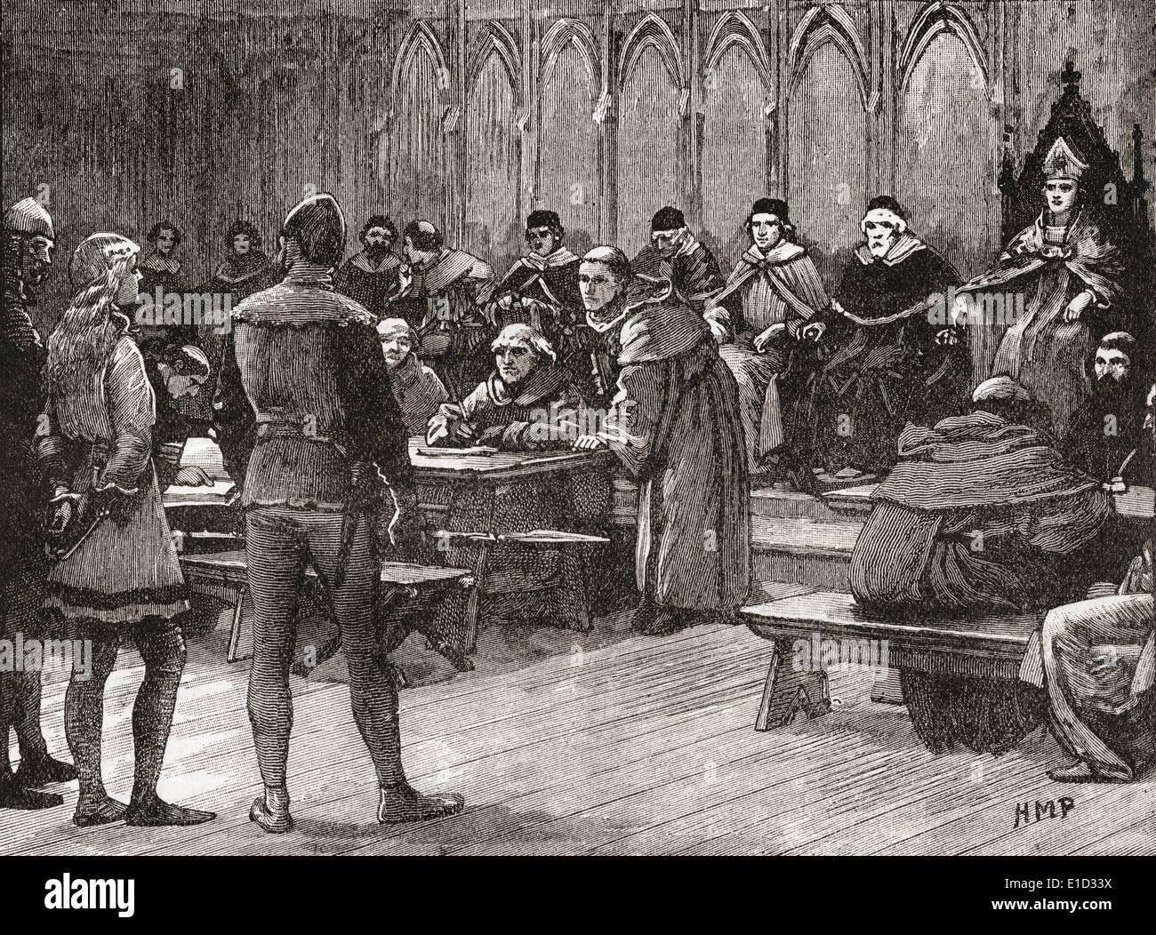 Der Prozess der Jeanne d ' Arc 1431. Stockbild