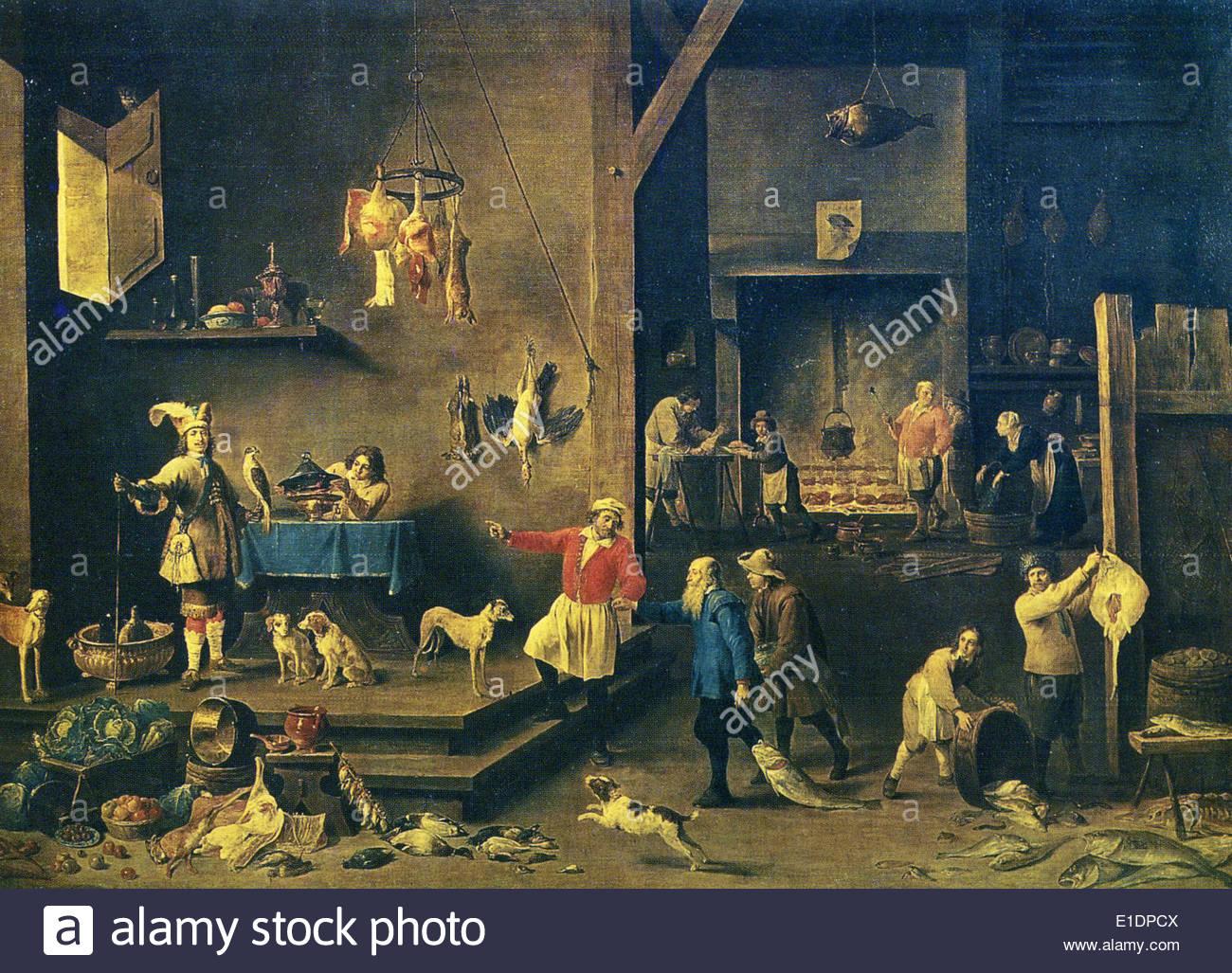 Gemälde von David Teniers der jüngere 1610-1690-Küche, 1646, Öl auf ...