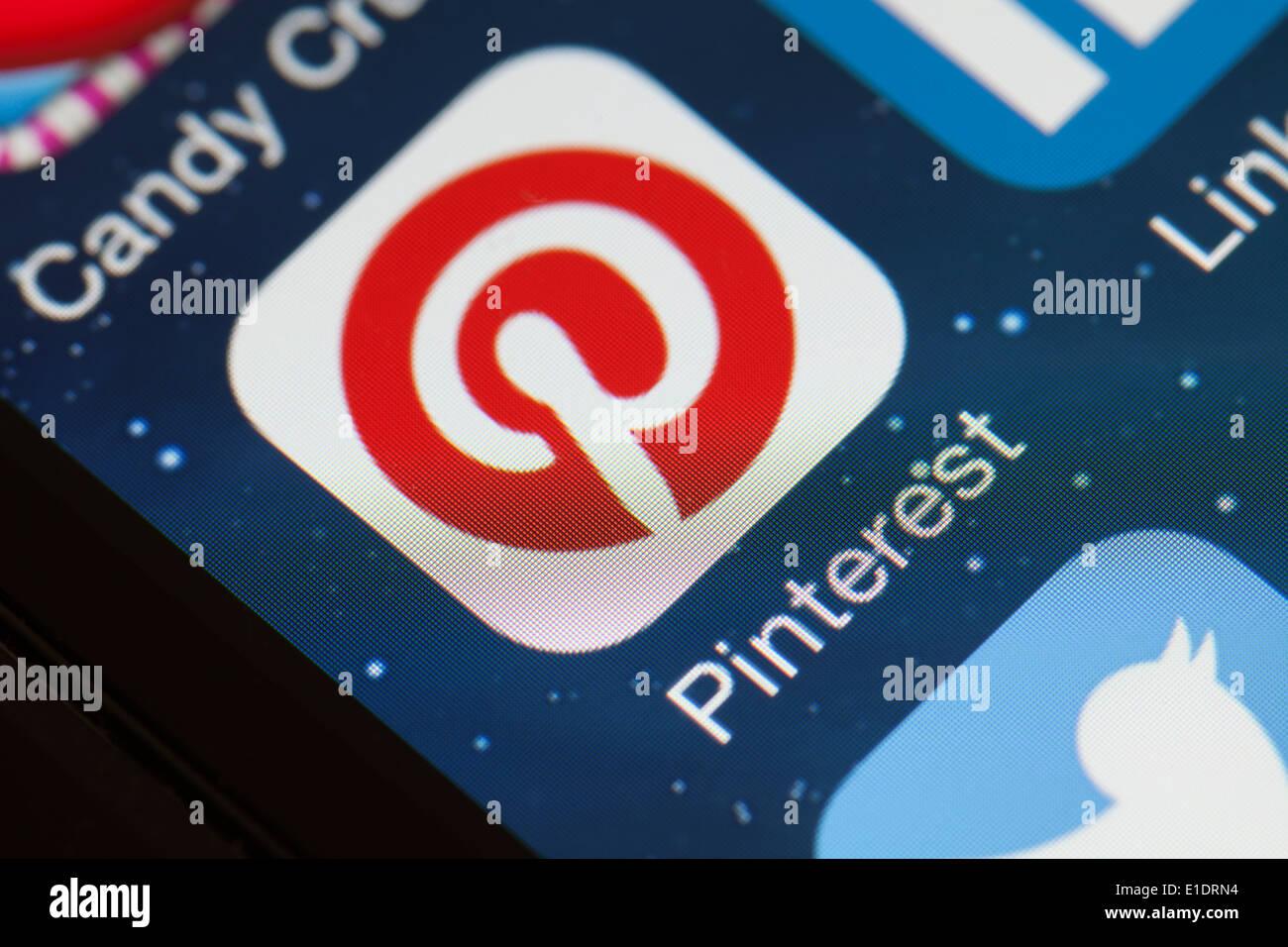 Pinterest app Symbol auf dem Handy Stockfotografie   Alamy