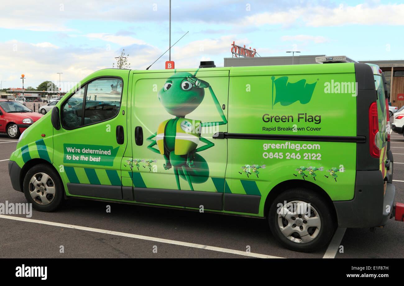 Green Flag Aufschlüsselung Fahrzeug Fahrzeuge Wiederherstellung England UK Stockbild