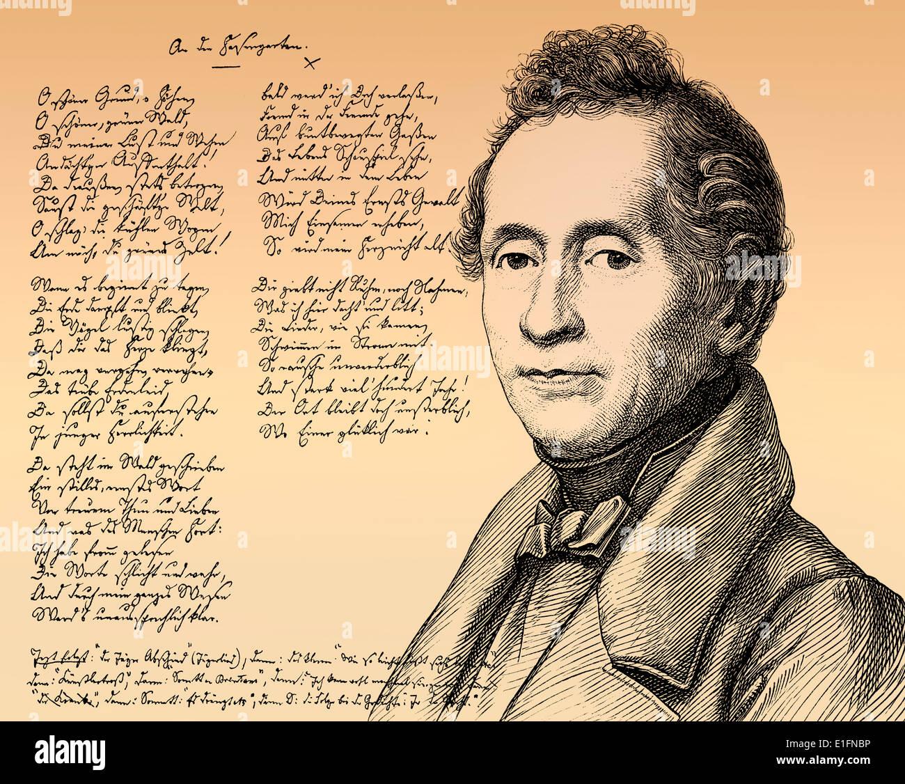 Abschied, handschriftlichen Gedicht von Joseph Karl Benedikt Freiherr von Eichendorff, 1788-1857, Dichter und Schriftsteller der deutschen Romantik Stockbild