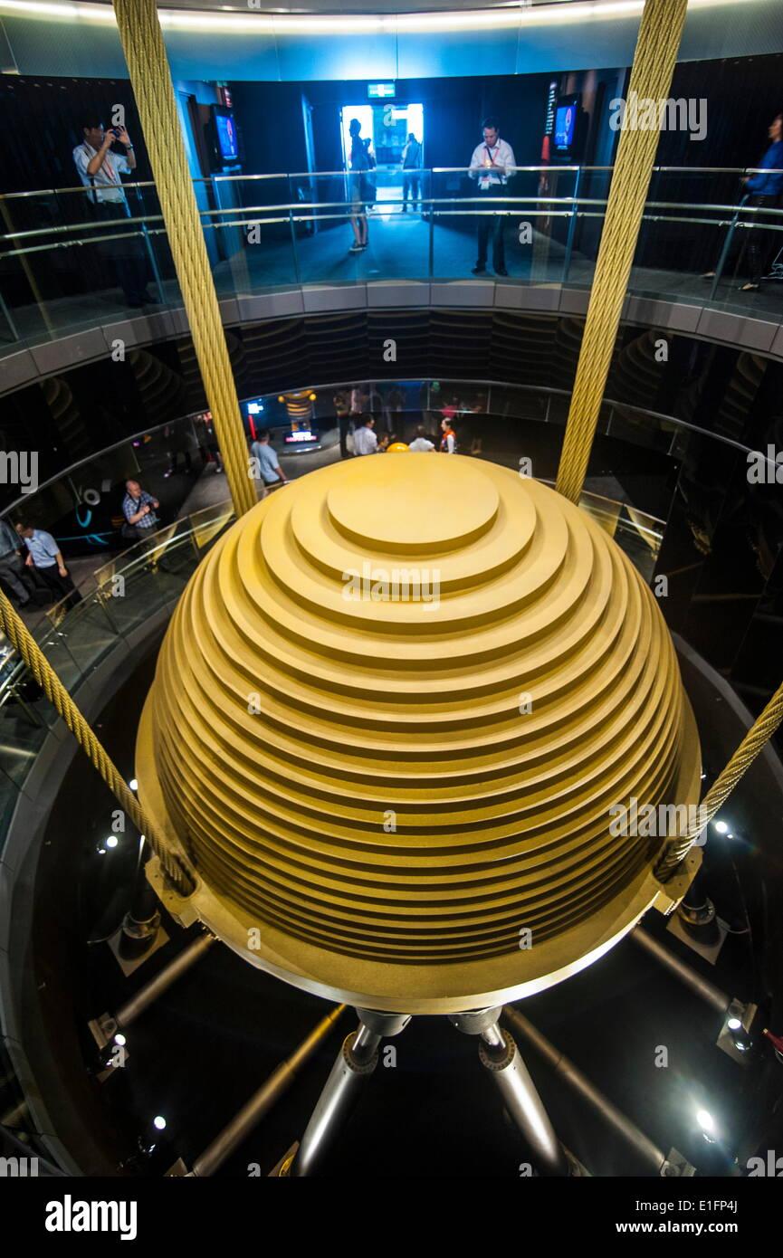 Riese abgestimmt Masse Dämpfer in der Taipei 101 Tower, Taipei, Taiwan, Asien Stockbild