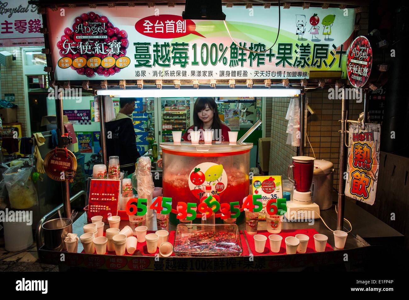 Saftbar in Shilin Night Market, Taipei, Taiwan, Asien Stockbild