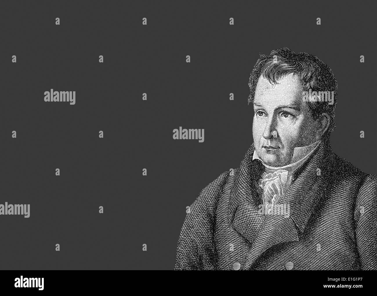 Johann Ludwig Tieck, 1773-1853, deutscher Dichter, Schriftsteller, Herausgeber und Übersetzer der Romantik, Stockbild