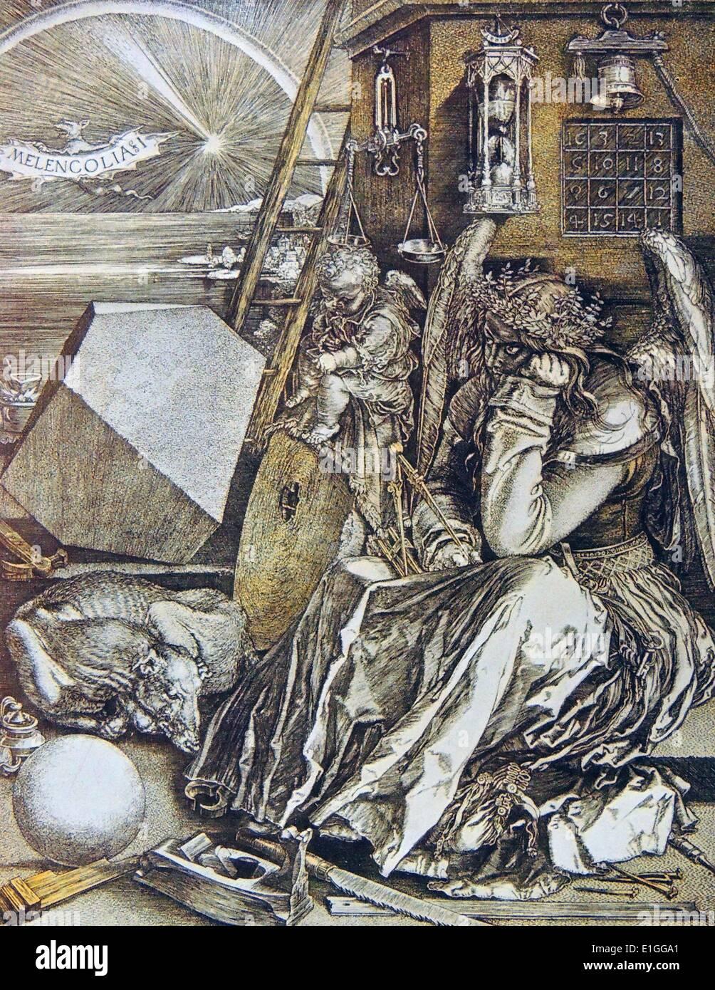 Kupferstecher mit dem Titel Melancholie. Von Albrecht Dürer (1471-1528), deutscher Maler, Kupferstecher und Stockbild