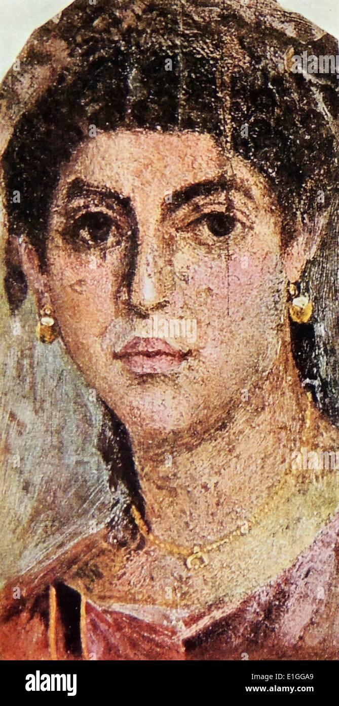 Grabbeigaben Porträt eines unbekannten Roman Female. Das Porträt wurde in Ägypten entdeckt. Stockbild