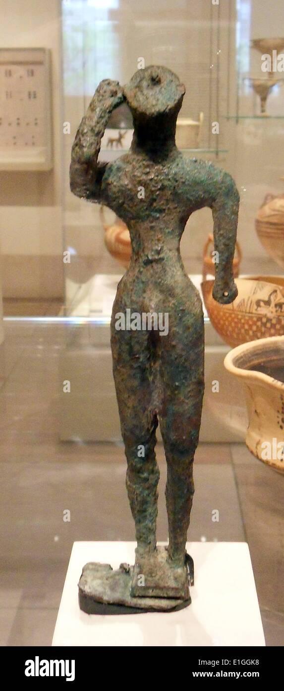 Bronze Krieger.  Griechisch (geometrische), zweite Hälfte des 8. Jahrhunderts v. Chr. Stockbild