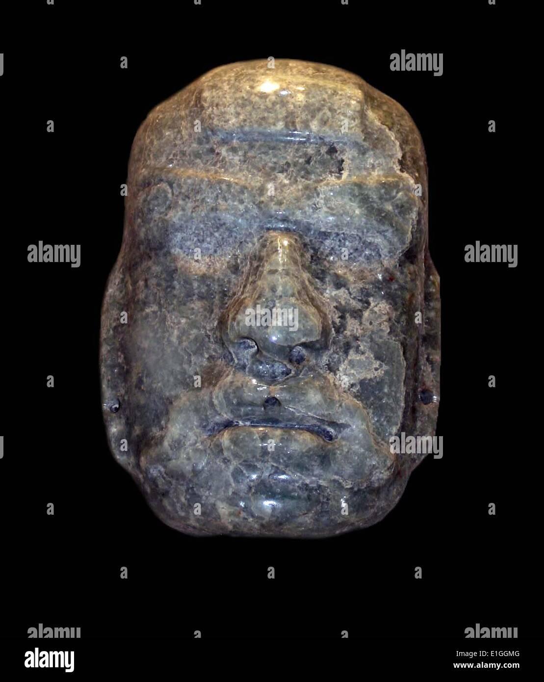 Jade Maske eines anthropomorphen Gottes, Maya, Mexiko AD 50-300 Stockbild