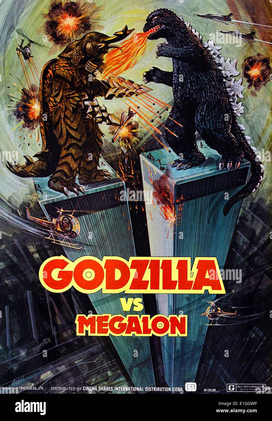 """""""Godzilla Vs Megalon"""" ein 1973 japanischen Science-Fiction-Kaiju-Film. Stockbild"""