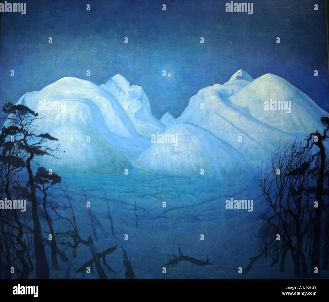 Winternacht in den Bergen, 1914 von Harald Sohlberg (1869-1935).  Öl auf Leinwand. Stockbild