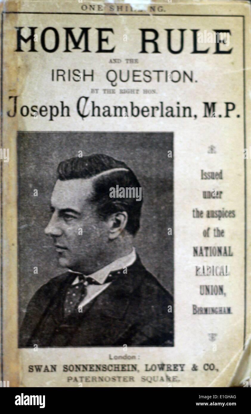 Selbstverwaltung und die irische Frage, Joseph Chamberlain, 1887. Stockbild