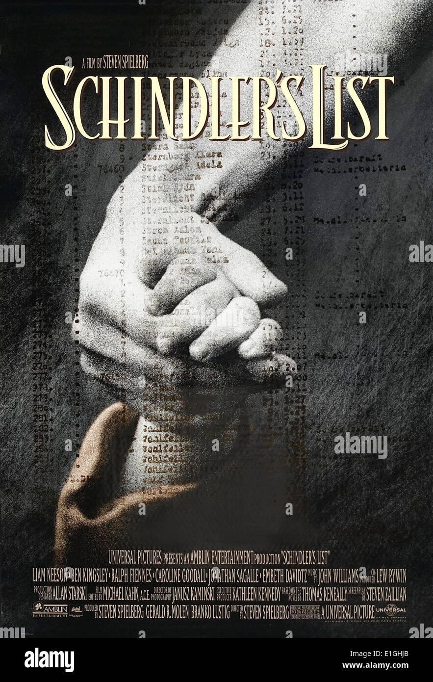 """""""Schindlers Liste"""" eine amerikanische epische Historiendrama 1993 Film, Gewinner von 7 Oscars, darunter Stockbild"""