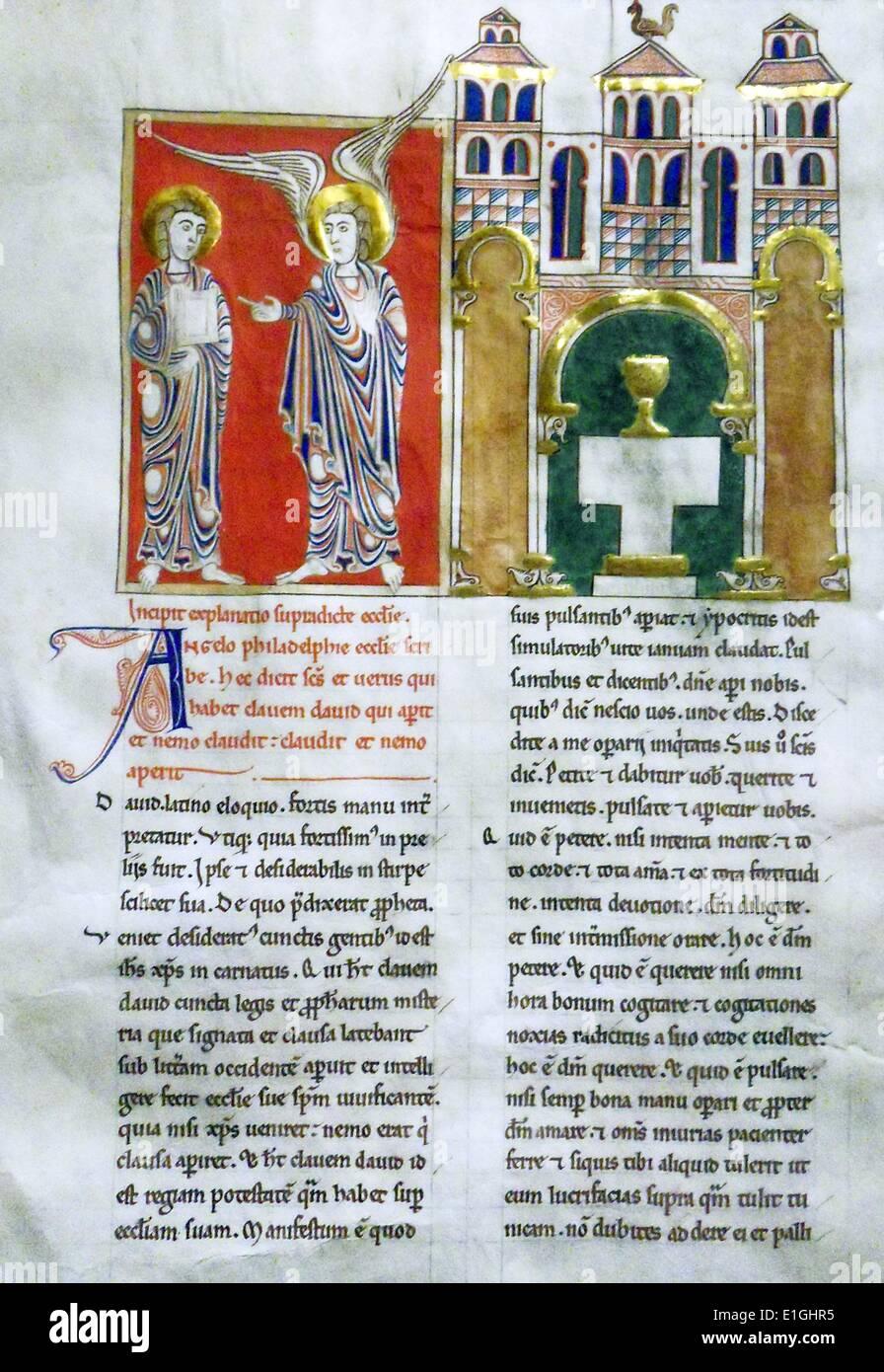 Der Engel der Kirche in Philadelphia mit dem Heiligen Johannes.  Blatt aus einer Beatus-Handschrift.  Tempera, Gold und Tusche Pergament. Stockbild