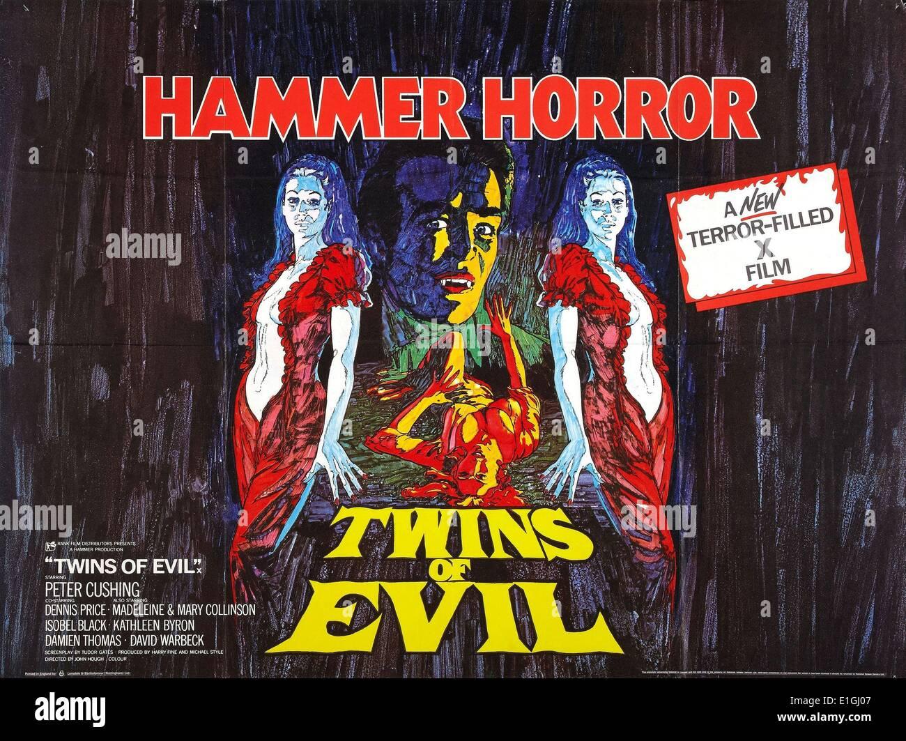 """""""Hammer Horror, Twins of Evil"""" ein 1971 Horrorfilm mit Peter Cushing Stockbild"""