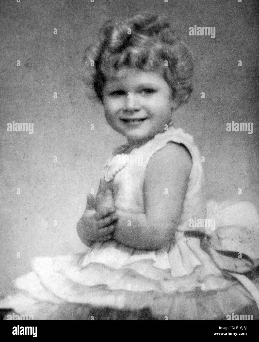 Prinzessin Elizabeth im Alter von 3 oder 4. später Elizabeth II (Elizabeth Alexandra Mary, geboren 21 April 1926[a]) konstitutionellen Monarchen von Stockbild