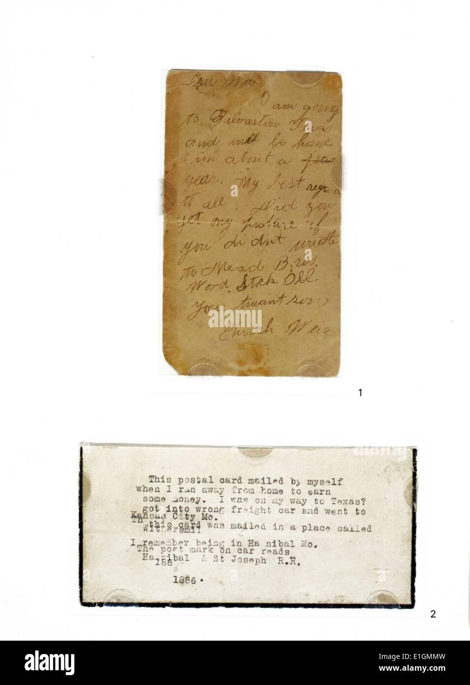 Postkarte von Harry Houdini (Ehrich Weiss) 1874-1926, zu seiner Mutter, 1886. Im Alter von zwölf Jahren, Ehrich Weiss lief von zu Hause weg um Geld zu verdienen und bittere Armut seiner Familie zu lindern. Dies ist die früheste Stichprobe von Houdini der Handschrift in den Sammlungen der Bibliothek des Kongresses und ist von einem später eingegebene Kommentar von der Magier ergänzt Stockfoto
