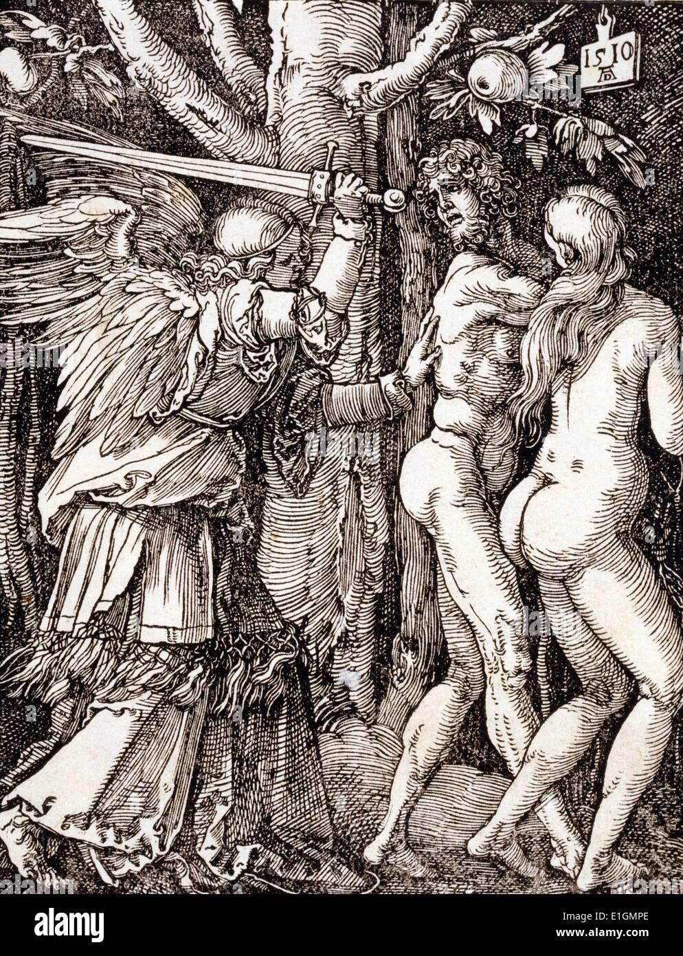 Kleine Leidenschaft. Die Vertreibung aus dem Paradies 1510. Von Albrecht Dürer (1471-1528). Datierte 1510 Stockbild