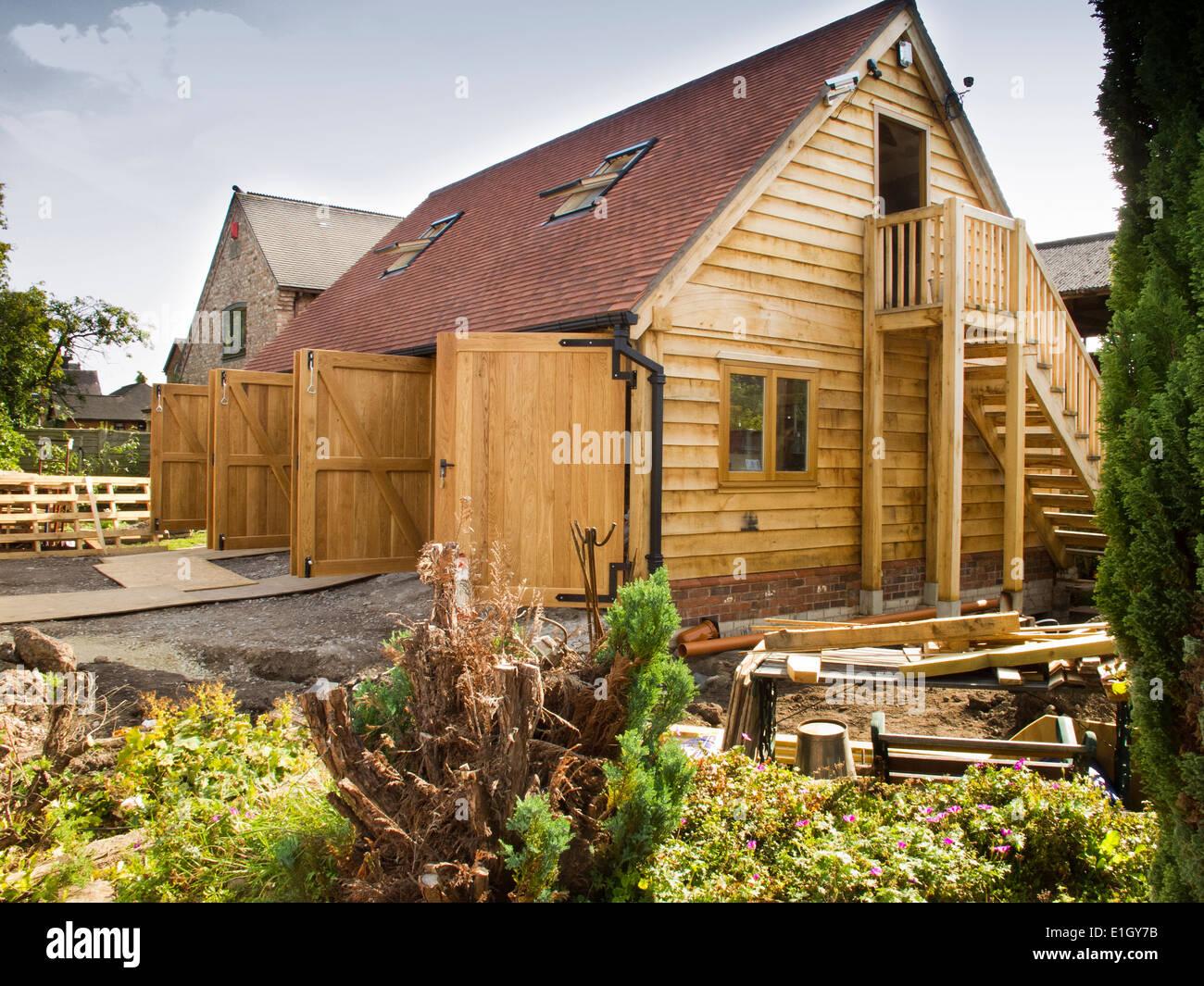 Garage Selbstbau Set : Selbstbau hausbau grüne eiche garage mit massivholz türen