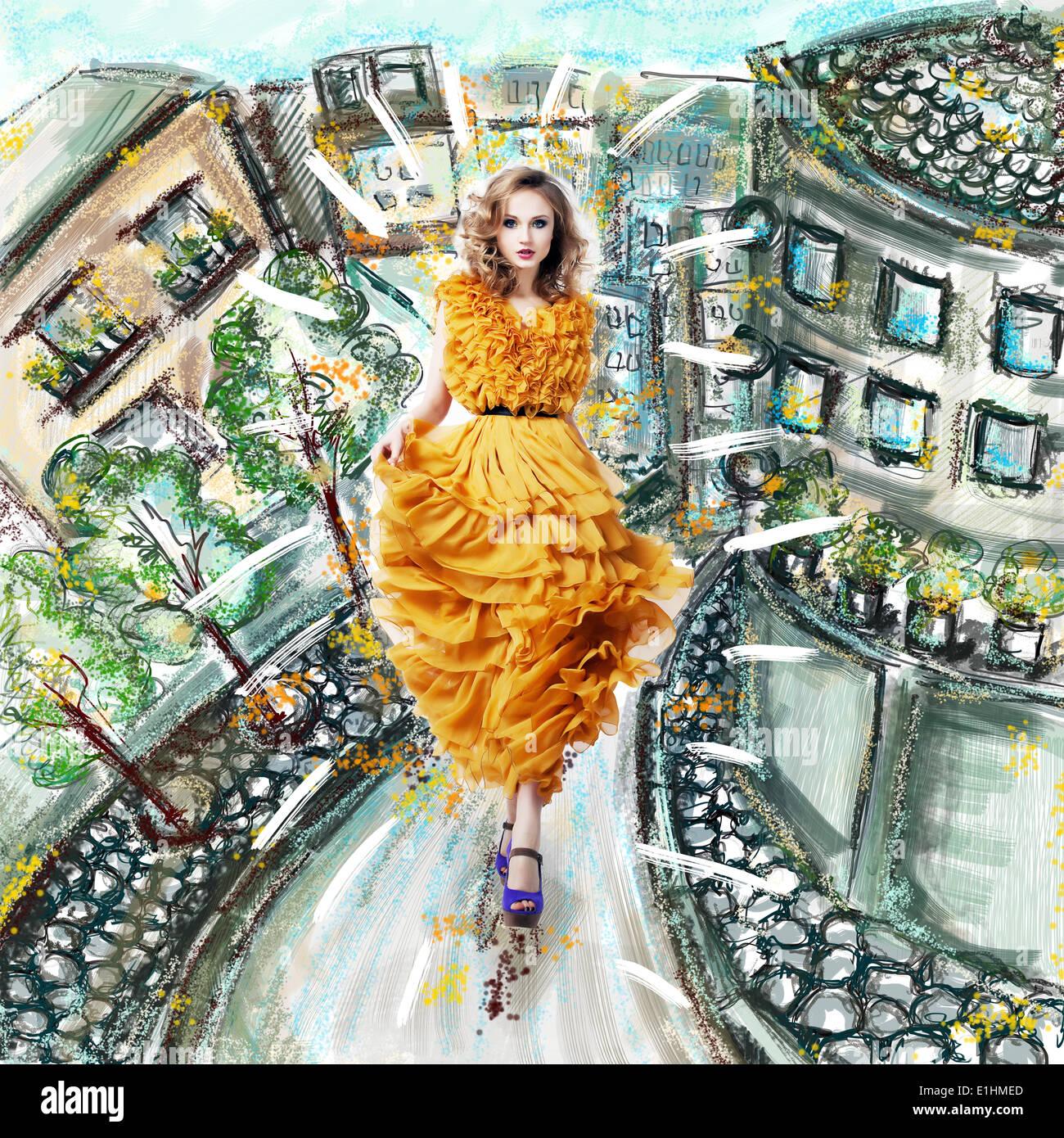 Schöne weibliche blonde Art und Weisemodell im gelben Kleid Stockbild