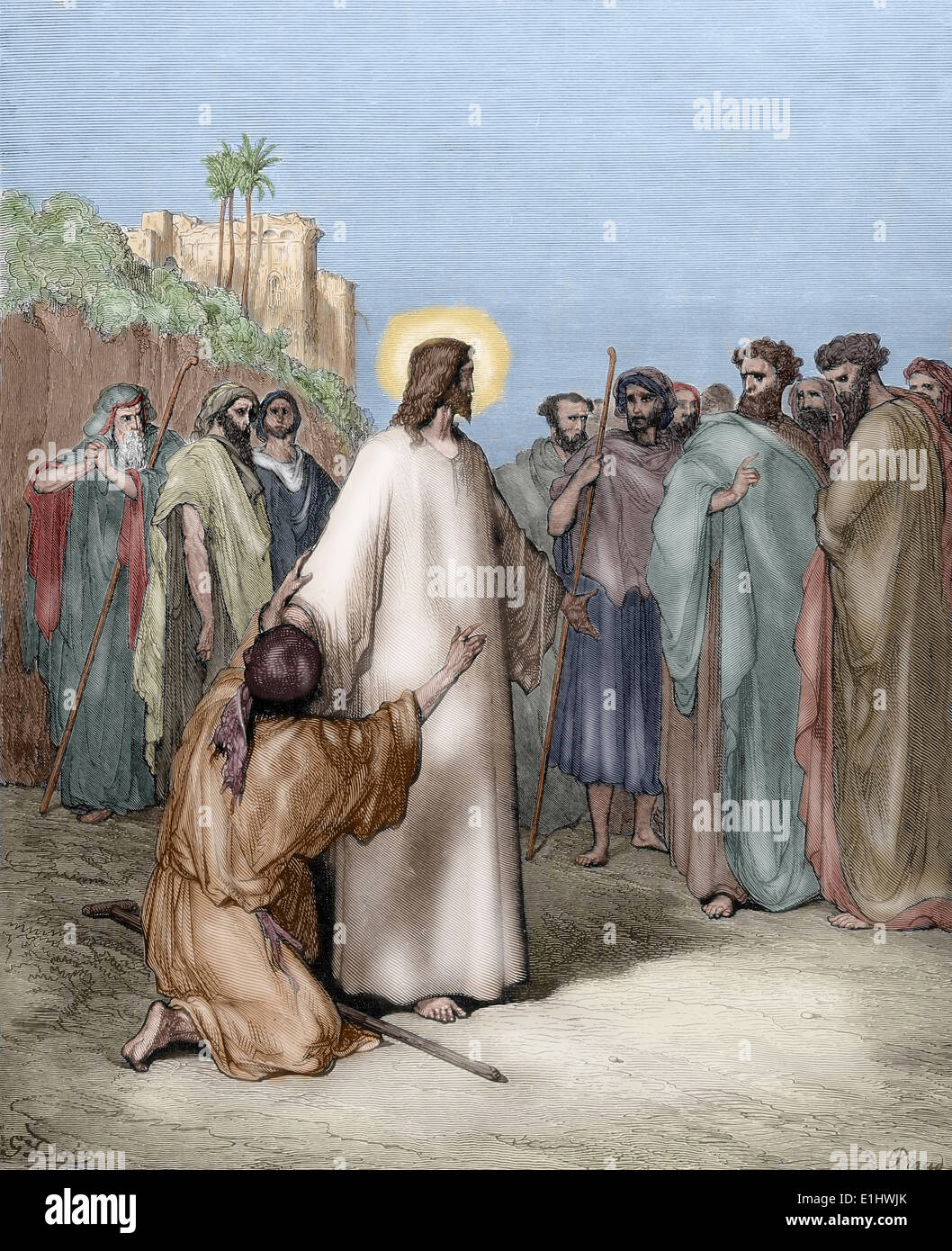 Neuen Testaments. Jesus heilt einen Dämonen besessen stumm. Evangelium des Matthäus. Zeichnung von Gustave Dore. Farbige. Stockbild