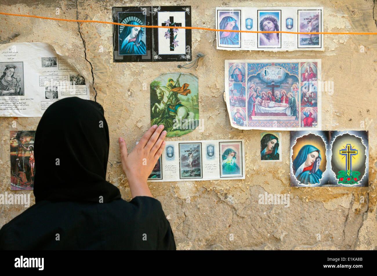 Koptische Bilder in Alt-Kairo Stockbild