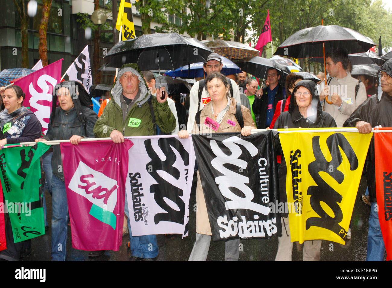 Demonstration gegen Rentenreform Stockbild