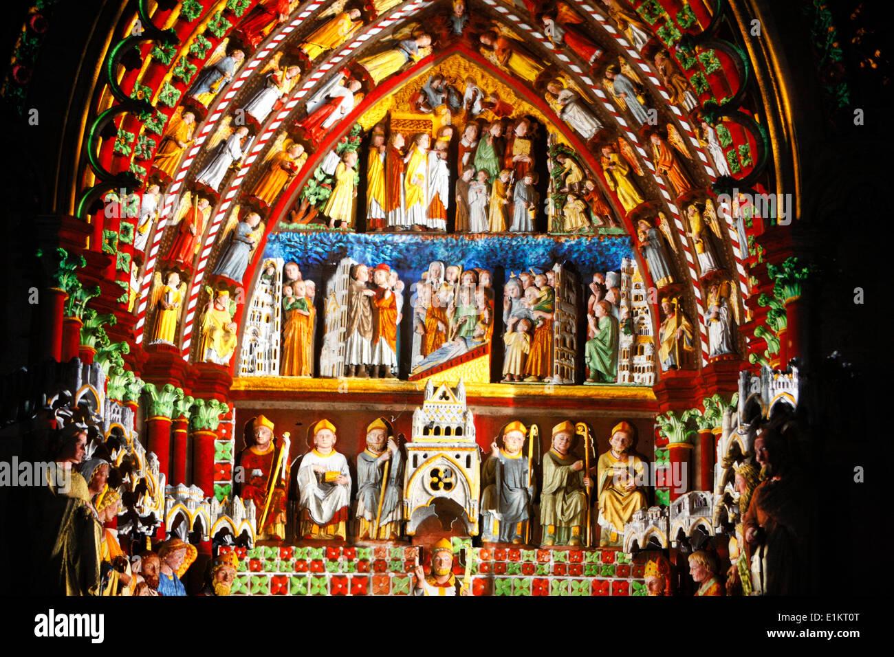 Amiens Kathedrale Beleuchtung Stockbild