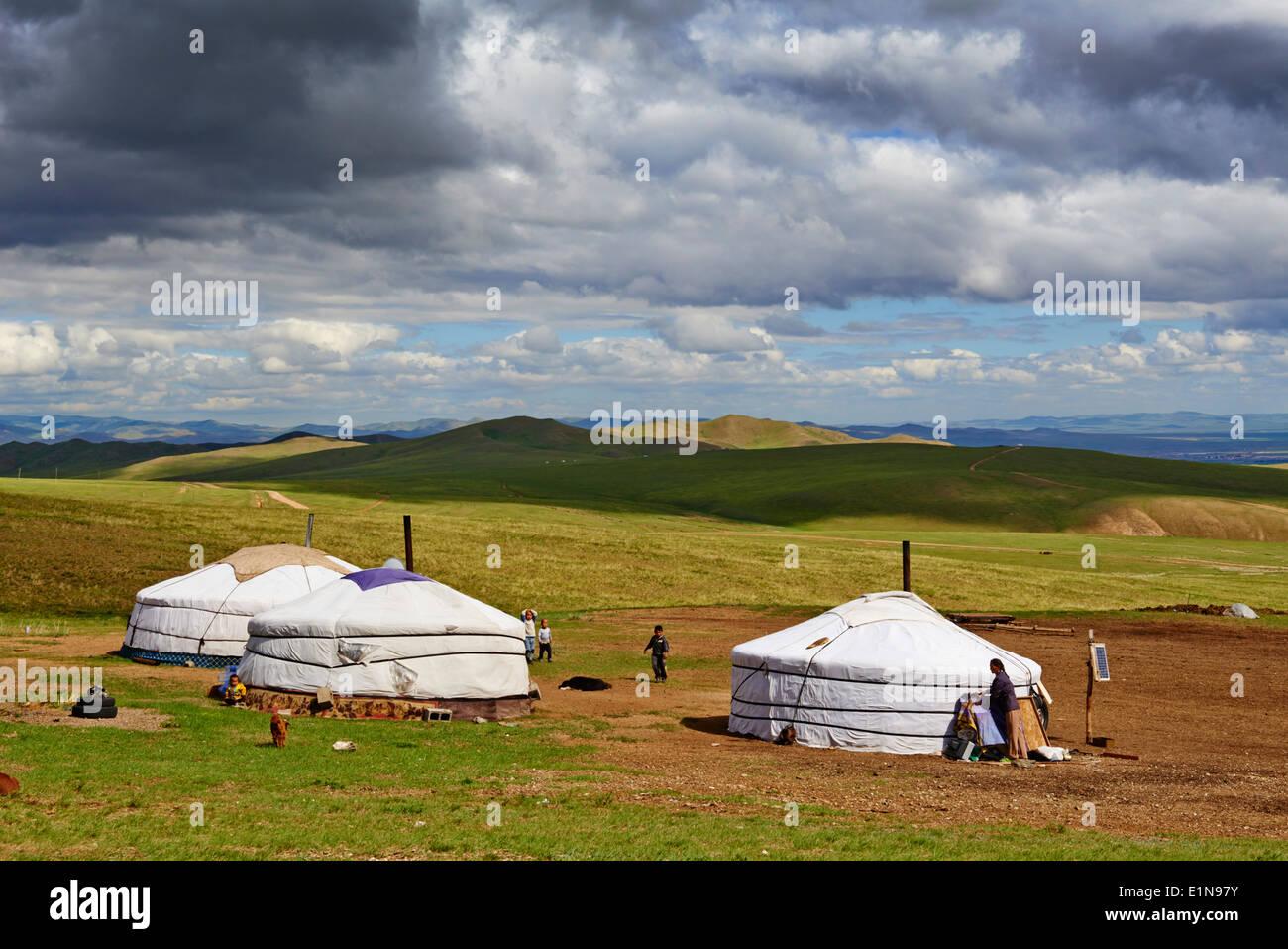 Mongolei, Tov Provinz, Nomadencamp Stockbild