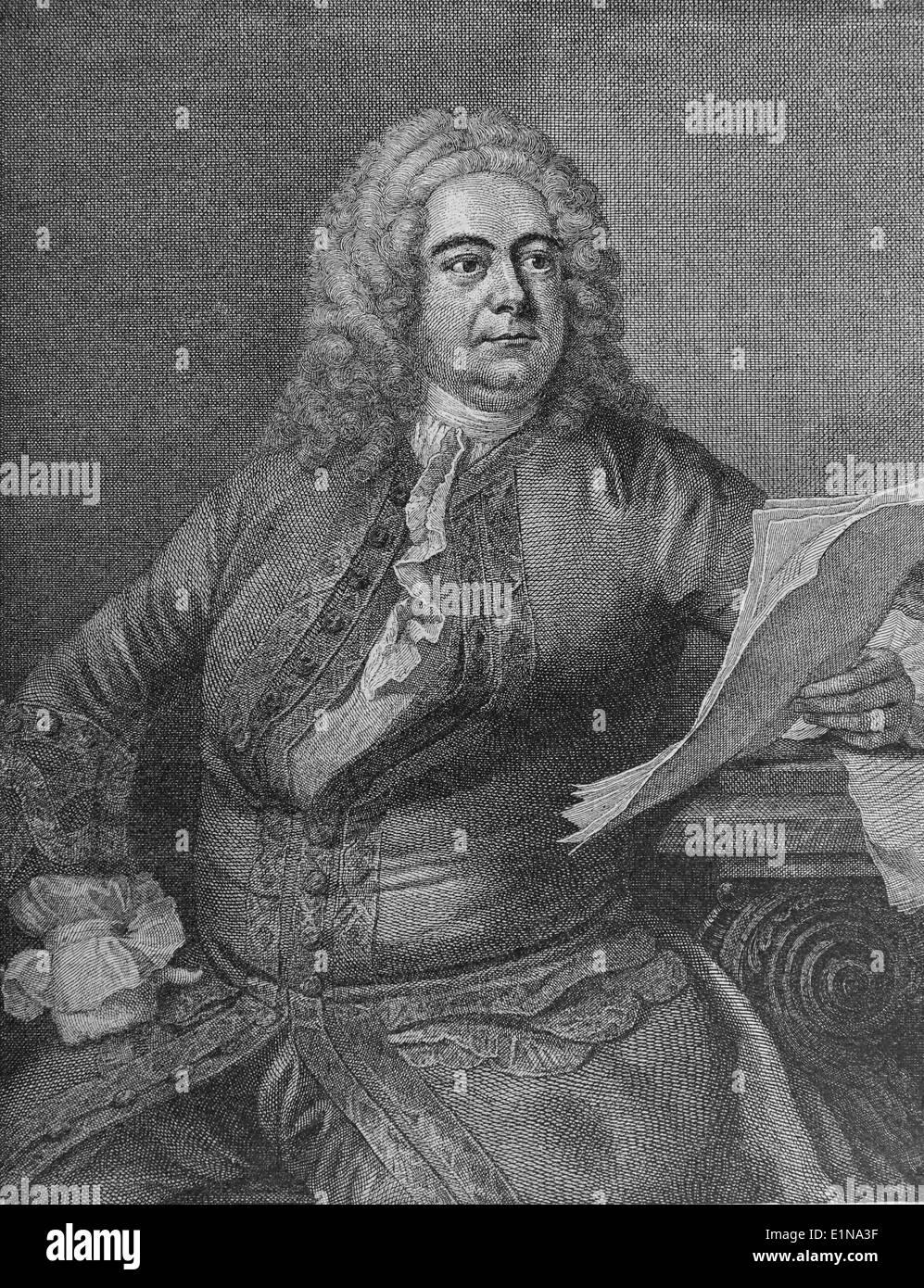 Georg Friedrich Händel (1685-1759). Deutsch-stämmige Barockkomponisten. Gravur. Stockbild