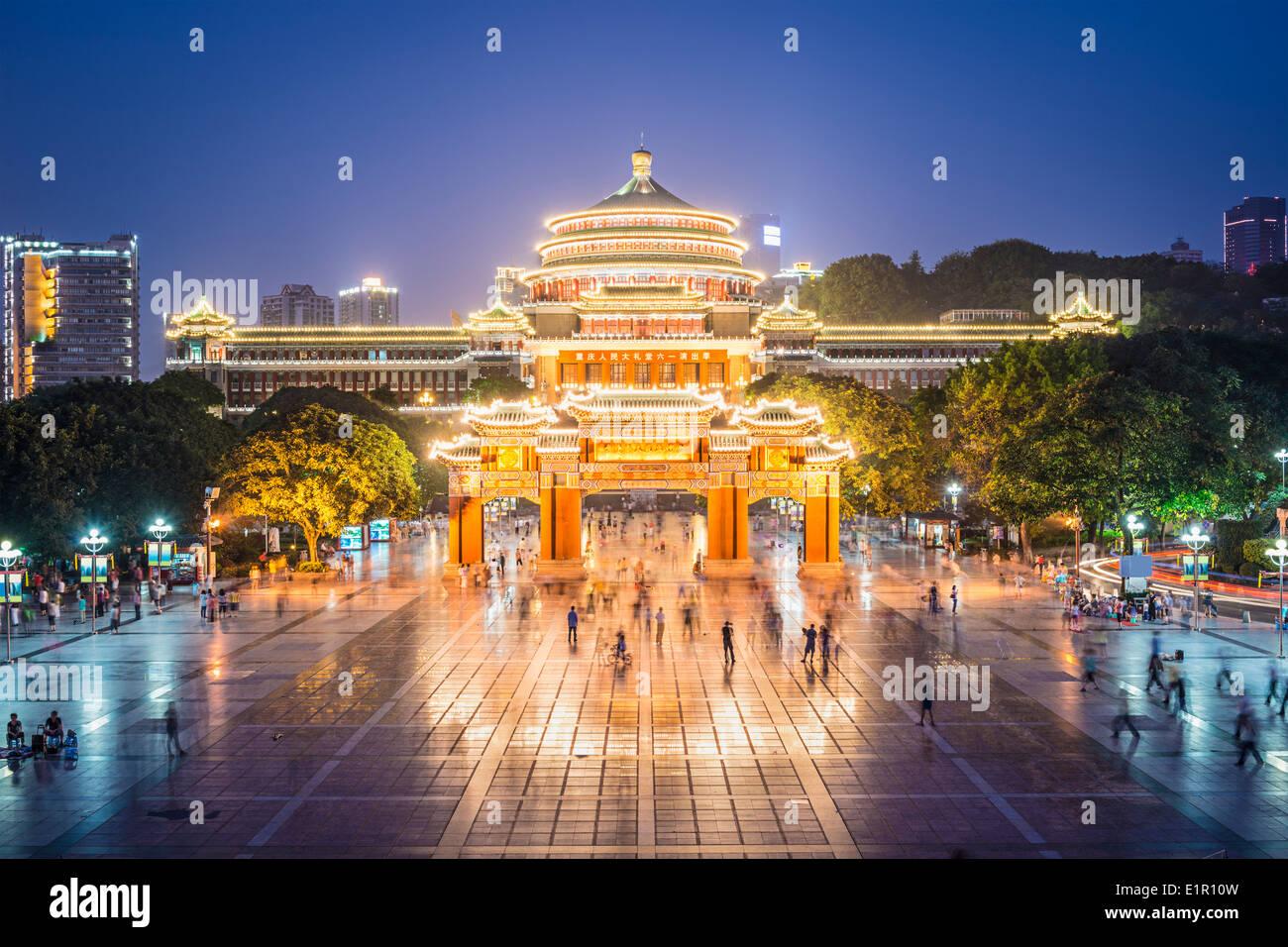 Chongqing, China im großen Saal des Menschen und des Menschen Platz. Stockbild