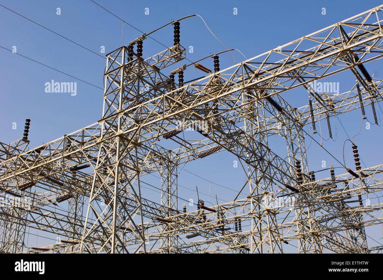 Elektrische Hochspannungsleitungen, Hoover Dam, Nevada, USA Stockbild