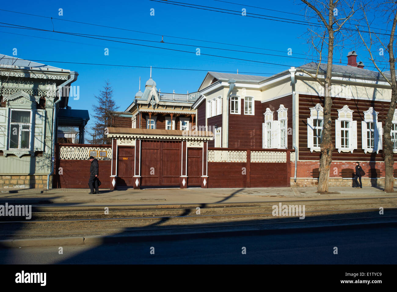 Holzarchitektur, The House of Europe, Irkutsk, Sibirien, Russland Stockbild