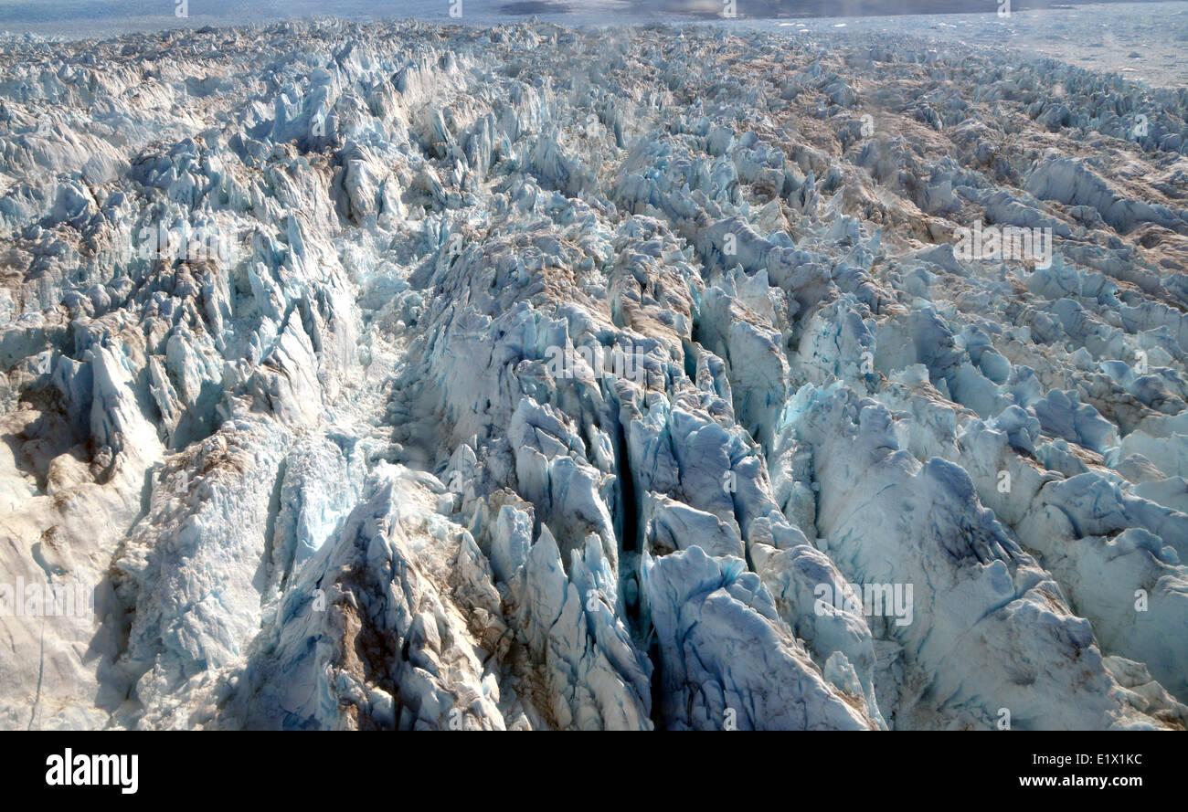 Grönlands Gletscher, Gletscher, Eis, Eiskappe, Eisschild, Luftaufnahmen von Hubschrauber Luftaufnahmen Stockbild