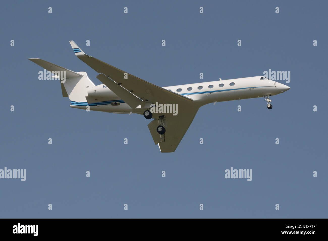 Gulfstream GV-SP im Endanflug Stockbild